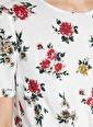 Koton Koton Çiçek Desenli Beyaz Bluz Yeşil